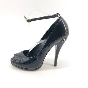 Gucci Patent Leather Heels 9.5 8.5 Black Strappy